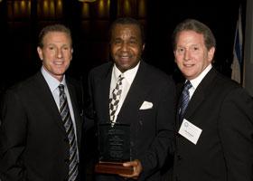 Past Hall of Fame Inductee, Don Shane; Alvin Foon Humanitarian Award Honoree, Emanuel Steward; and Daniel Passman, President of Michigan Jewish Sports Foundation